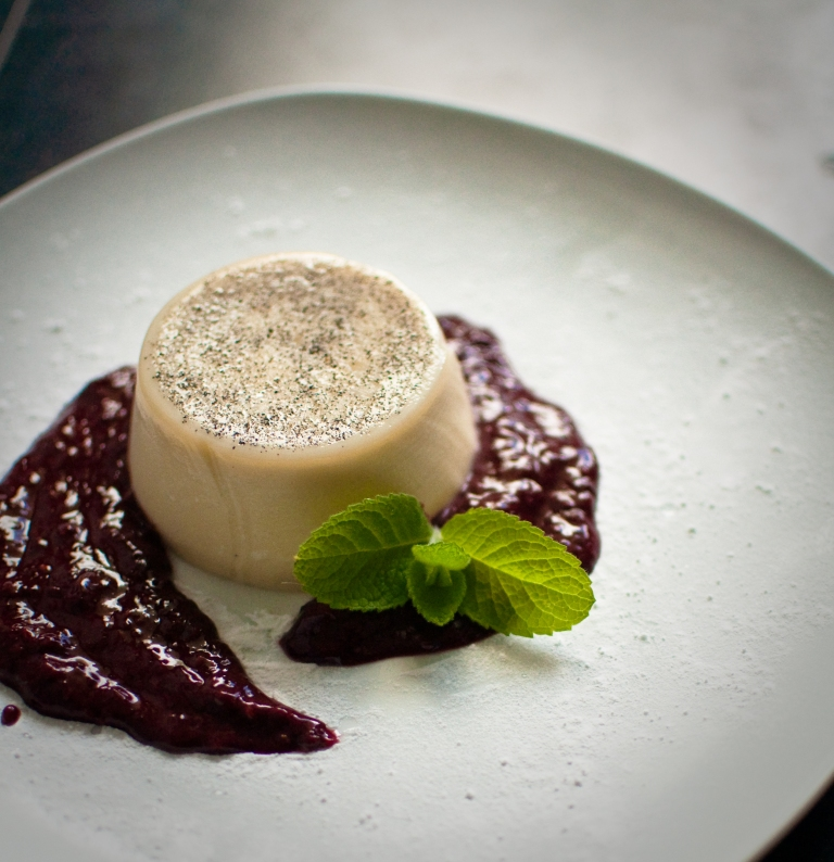 Lavender Panna Cotta with Blackberry Coulis by Passports and Pamplemousse