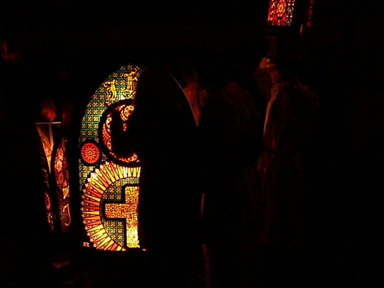 For a sense of how big the lanterns are, notice the silhouette of the person standing in front of this one!